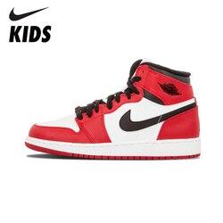 Nike Air Jordan 1 оригинал Новое поступление детская Баскетбольная обувь уличные удобные спортивные кроссовки #555088-101