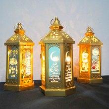 2021 ramadan luzes led torre mesquita lanterna eid mubarak festival luz quente decoração da lâmpada de ferro artesanato desktop eid decoração