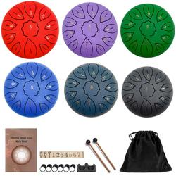 6 inch 8/11 Tune Percussion Musical Instrument Steel Tongue Drum for Beginner Tune Hand Drum Pad Sticks Carrying Bag Percussion