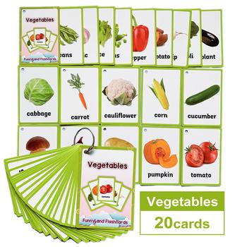 20 sztuk zestaw owoce warzywa angielski nauka karta słowo angielska karta do nauki wczesna edukacja gra dla dzieci słowo kieszeni karty tanie i dobre opinie HAPPY MONKEY 3 lat CN (pochodzenie) Papier