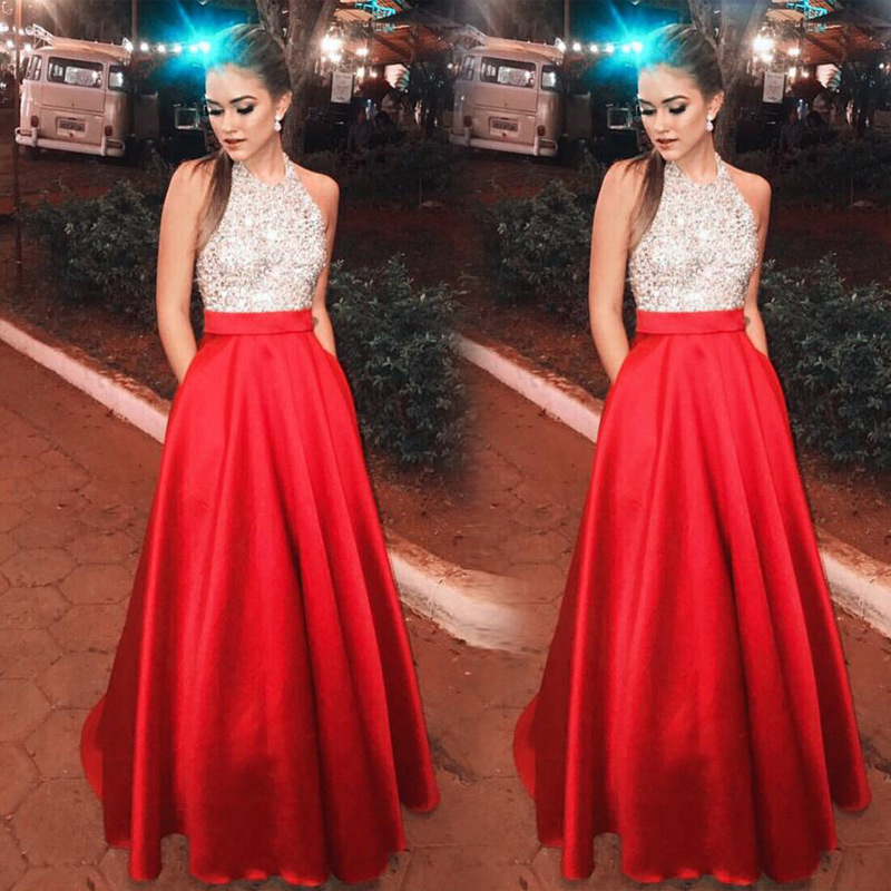 BacklakeGirls New Arrival Red Contrast Color Floor Length Halter Satin Evening Dress With Pockets Vestido Largo De Noche