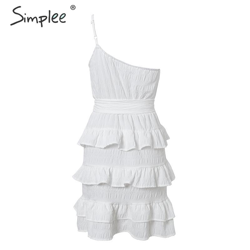 Image 5 - Simplee Sexy one shoulder spaghetti strap women summer dress A line female ruffle cotton short sundress Beach holiday mini dressDresses   -