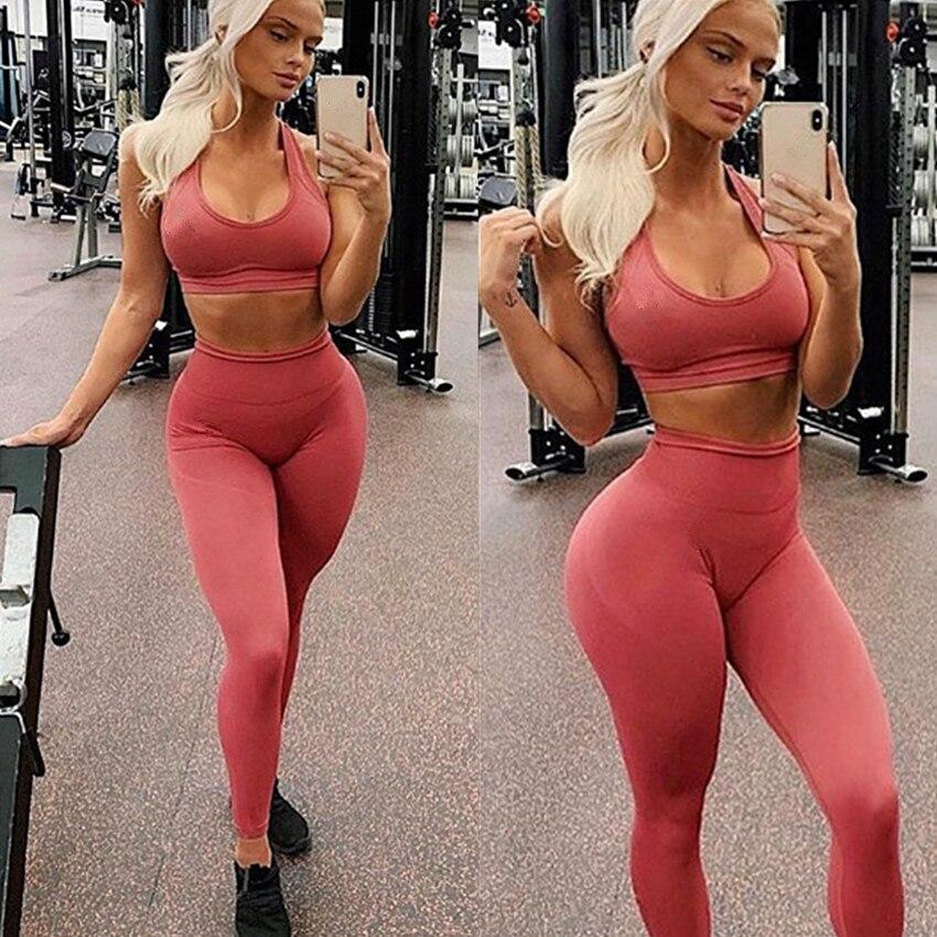 Pad Brand Seamless Push Up Leggings+Strappy Bra 2Pcs Yoga Set Women Gym Fitness Clothing High Waist sport Set Running Tracksuit