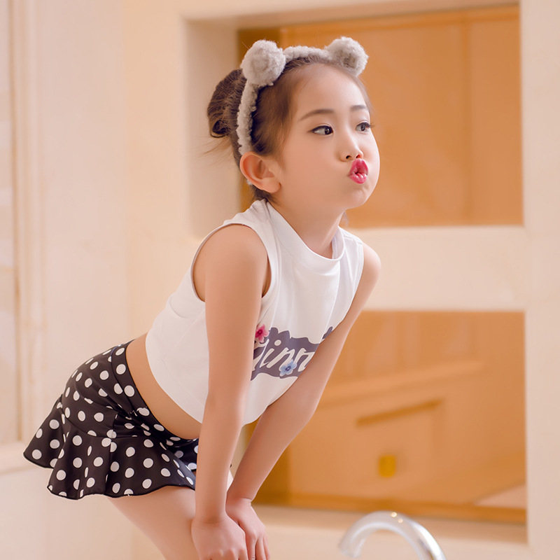 2017 Korean-style Infants KID'S Swimwear Girls Split Type Bikini Swimwear Baby Polka Dot Princess Cute Swimming
