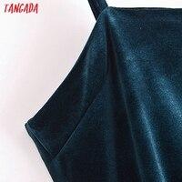 Tangada Women's Party Dress Solid Color Velvet Dress Strap Adjust Sleeveless 2021 Korean Fashion Lady Elegant Dresses QN44 3