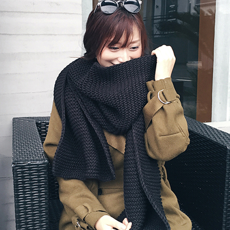 Women Scarf Korean Wool Female Student Long Thick Warm Knitting Winter Red Black White Beige Scarf