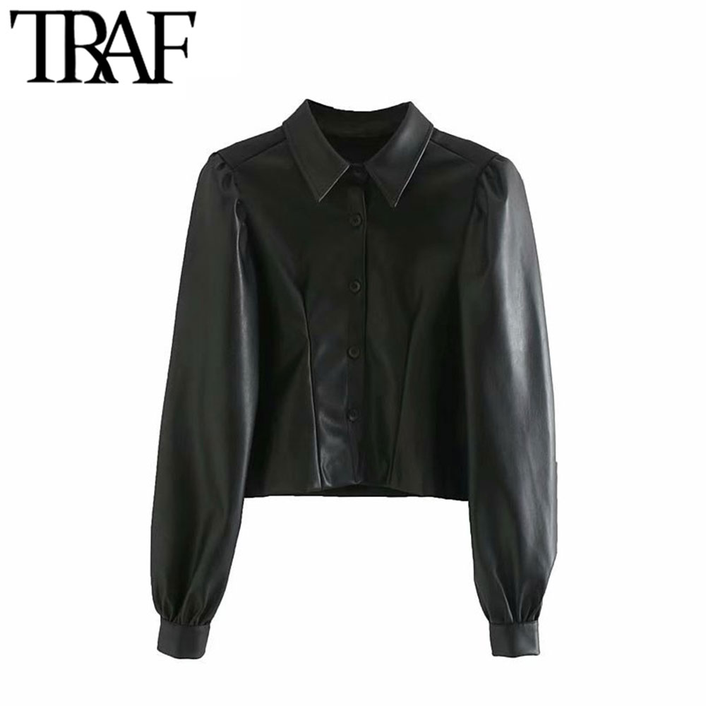 TRAF Women Vintage Stylish Faux Leather Pleated Cropped Shirts Fashion Lapel Collar Puff Sleeve Female PU Blouses Chic Tops