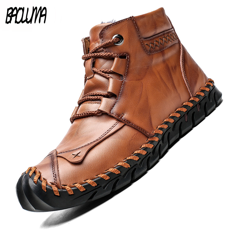 Brand Classic Winter Men Boots Thick Plush Warm Male Snow Boots Italy Handmade Man Ankle Boots Waterproof Non-slip Man Moccasins