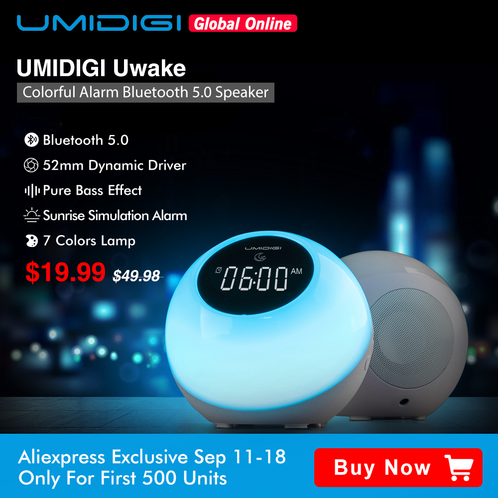UMIDIGI Uwake Altoparlante Senza Fili del Bluetooth Portatile LED Altoparlante Tocca Lampada Musica Stereo Surround Altoparlante Esterno di Allarme Orologio