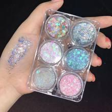 Cola livre maquiagem frouxo diamante glitter festival festa cosméticos lantejoulas sombra para olhos rosto 6 cores/pacote