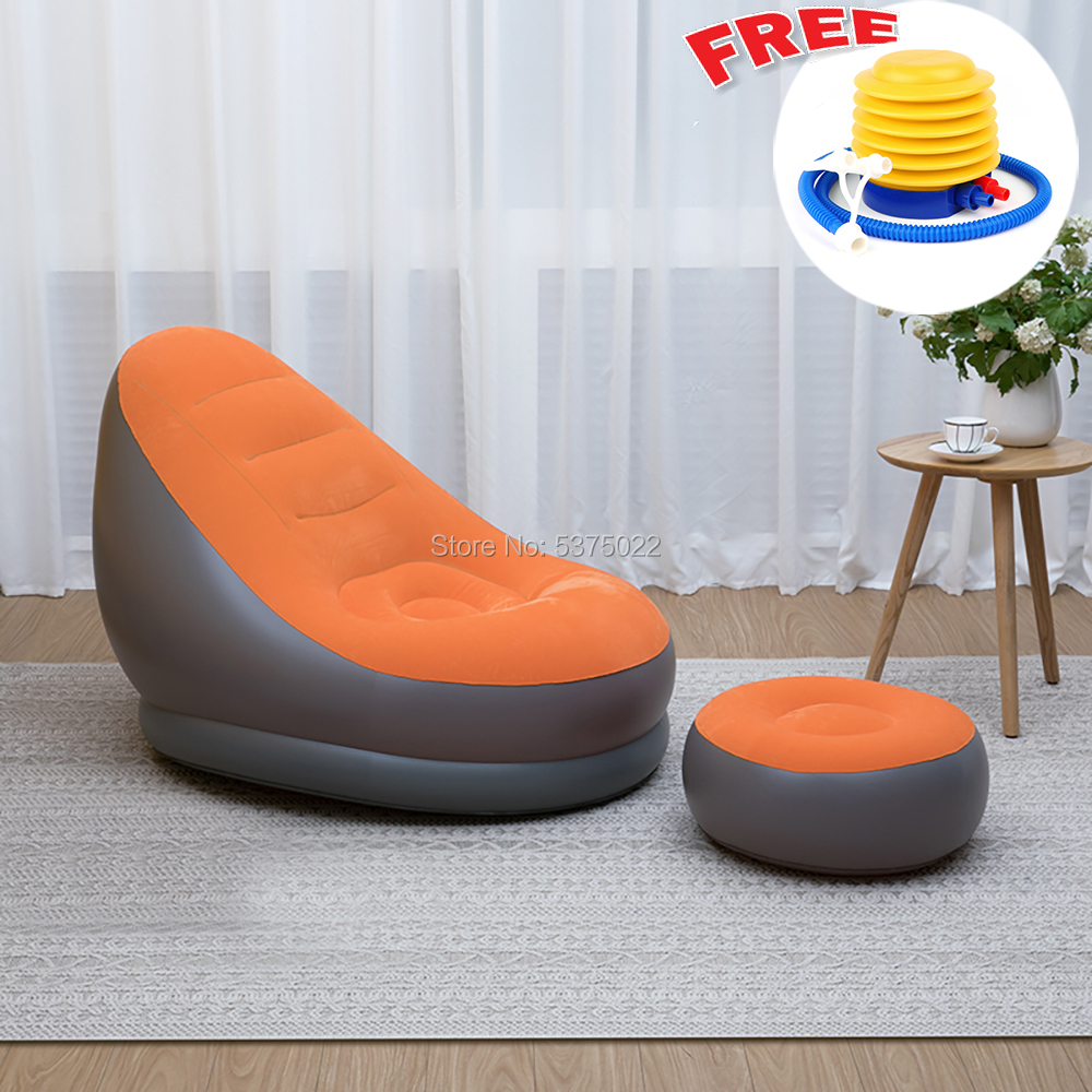Relax Lazy Sofa Inflatable Sofa Chair And Ottoman Set Stool Chair Lounge Chair For Home And Garden
