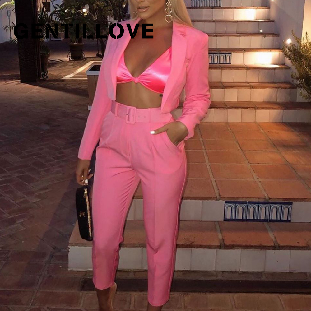 Gentillove Women Two Pieces Sets Solid Blazer $ Trousers Casual Short Blazers Streetwear Female Pant Suits Elegant Clothes 2019