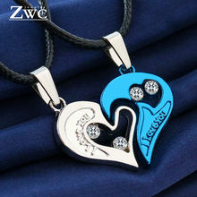 ZWCX 2 Pieces/Set Half love Heart Rhinestone Pendant Necklaces Friendship Gift for Couple Good Friend Alloy Couple Necklace Gift(China)