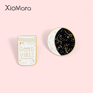 Good Vibes Enamel Pins Lunar phase Bottle Moon Star Constellation Jewelry Custom Brooch Badge Lapel Pin For Friends Gift