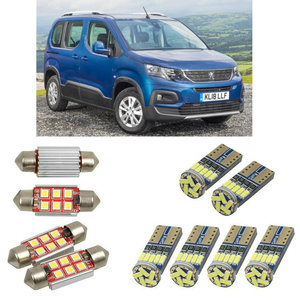 Interior led Car lights For peugeot rifter minivan 2018 car accessories boot light License Plate Light 8pc(China)
