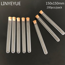 200pcs/pack 15*150mm Plastic Test Tube with Cork for Laboratory or Wedding favours Spices Tube