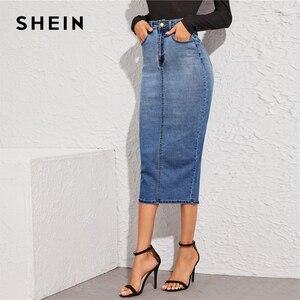 Image 4 - SHEIN Blue Split Back Bodycon Denim Skirts Womens Spring Autumn High Waist Slim Fitted Casual Long Pencil Skirt