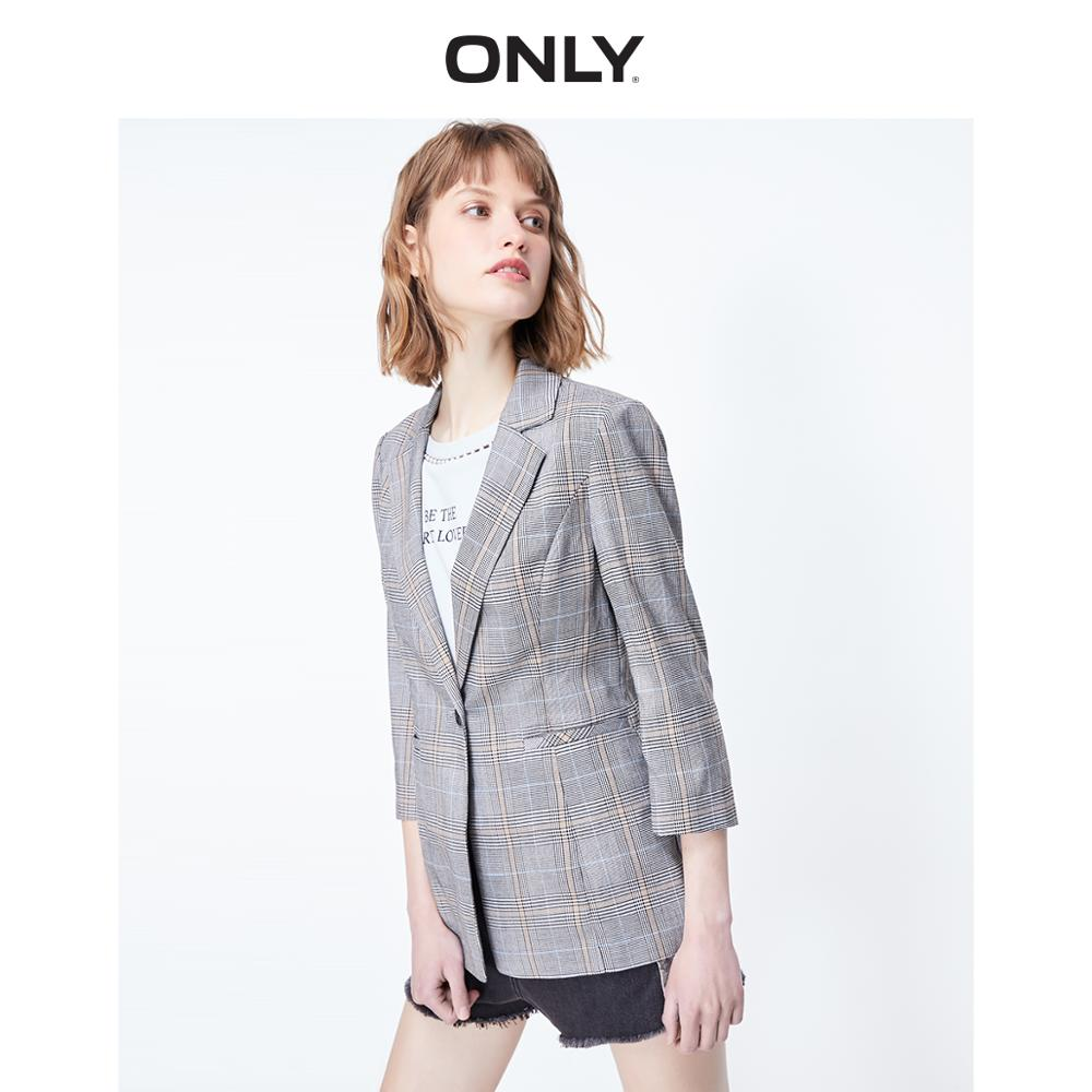 ONLY Women's Slim Fit Checked 3/4 Sleeves Blazer | 119208508