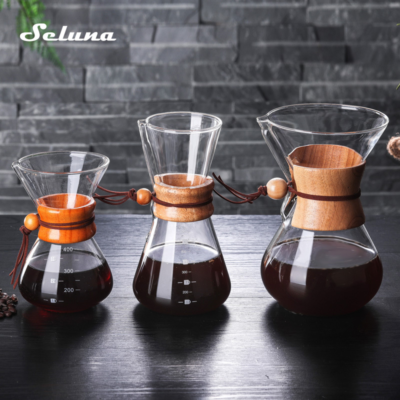 Seluna Glass Coffee Kettle With Stainless Steel Filter Drip Brewing Hot Brewer Coffee Pot Dripper Barista Pour Over Coffee Maker