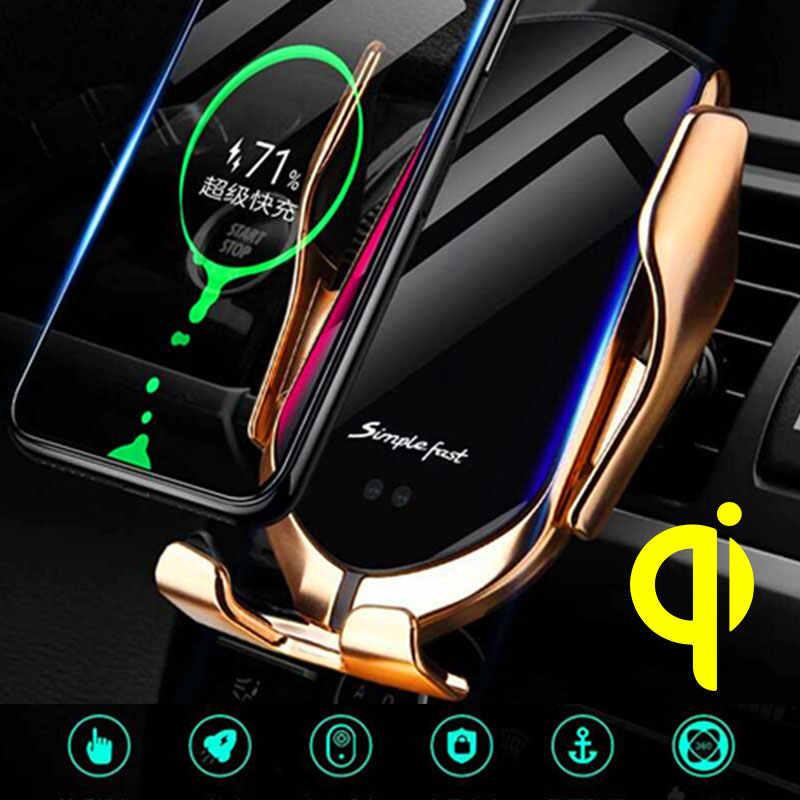 Automatyczne mocowanie 10W bezprzewodowa ładowarka samochodowa do iPhone Xs Huawei LG indukcji podczerwieni Qi R1 bezprzewodowa ładowarka samochodowa uchwyt na telefon