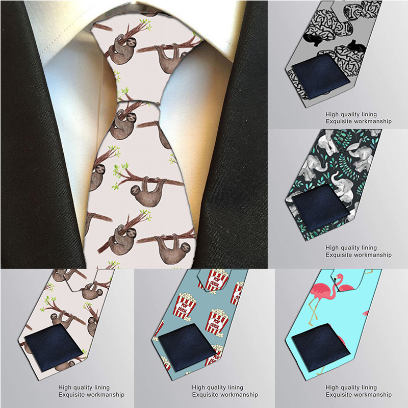 Men Harajuku Funny Polyester Neck Ties Printing Ties For Men 8cm Colorful Slim Party Accessories Gravatas Neckties 8S-LD51