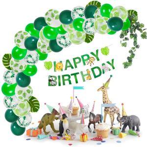 Image 5 - FENGRISE Dark Green Animal Balloons Palm Leaf Balloon Birthday Child Safari Party Ballons Decoration Birthday Binosaur Baloon