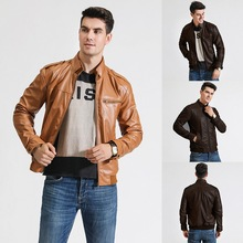 Men Faux Leathers Motorcycle Washed Pocket Casual Coat Leather Stand Collar Jacket Autumn Winter Male Coats