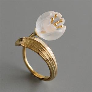 Женские кольца с цветком лилии, из стерлингового серебра 925 пробы, с натуральным кристаллом
