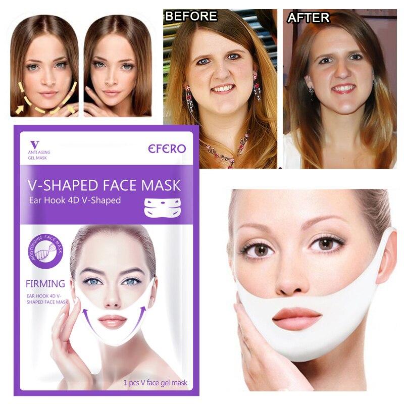 V Forma de Elevação Rosto Máscara Peel-off Slimming Chin Lift Up Shaper V Anti-rugas Máscaras de Máscaras ouvido pendurado Bandagem Cuidados Com A Pele