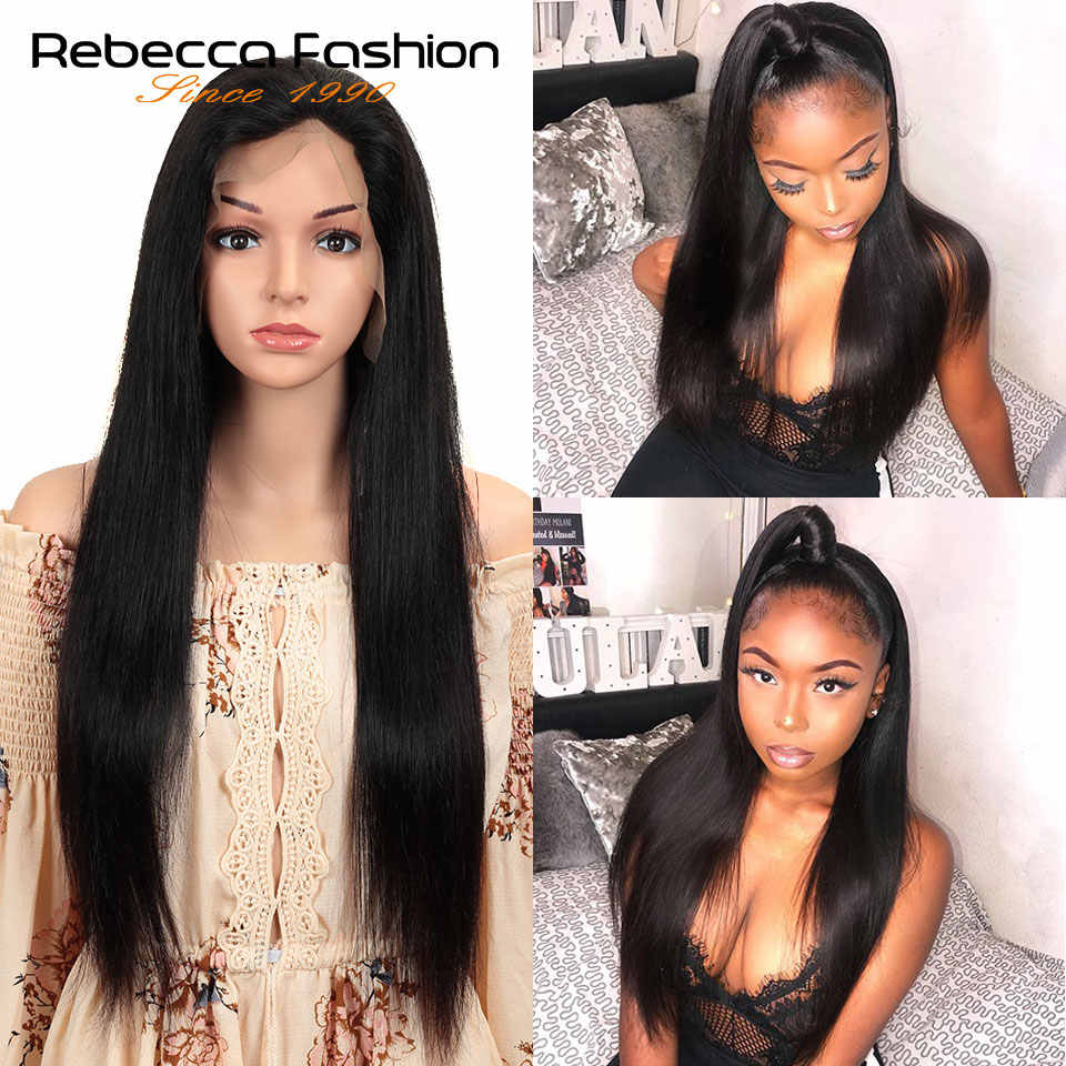 Rebecca 150% Lace Front Human Hair Wigs 13X4 Pre Plucked Brazilian Remy Straight Lace Frontal Wigs With Baby Hair 10-30 Inch
