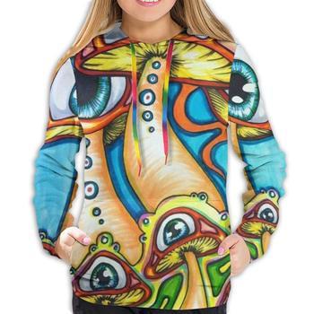 Funny Cool Hoodie with Big Pockets for Picnic Cycling Date, Women Girls Trippy Mushroom Pullover Hoodie Hooded Sweatshirt hooded 3d fireworks print flocking trippy hoodie