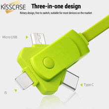 KISSCASE 3 in 1 Type-C Cable Micro USB Phone Charger Adapter Cables for Iphone Huawei Samsung 2.4A Type-C Cable Micro USB Cables(China)