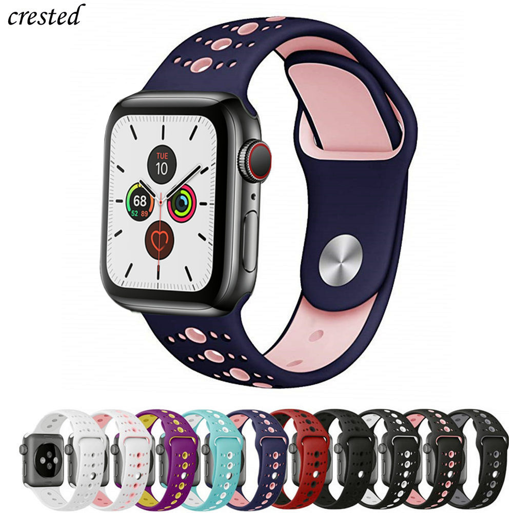 Silicone Strap For Apple Watch 5 Band 44mm 40mm IWatch Band 38mm 42mm Porous Sport Watchband Bracelet Apple Watch 4 3 2 1 38 40