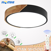 wood nordic ceiling lamp with remote control round lamp in the bedroom modern led suspended ceilings living room lights fixtures