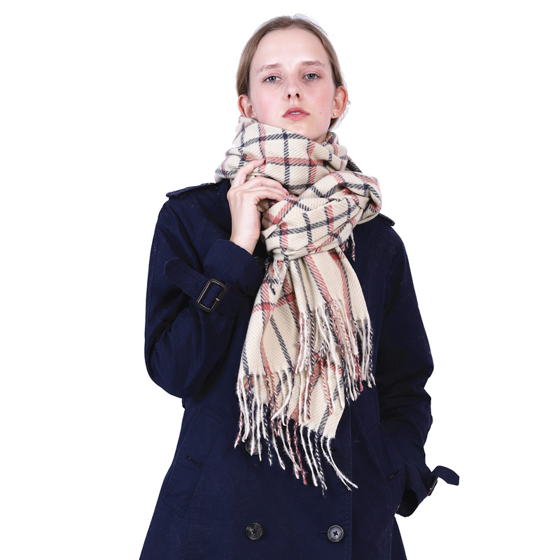 Tian Character Square Plaid Imitation Cashmere Neck For Men And Women Long Warm Tassel Scarf