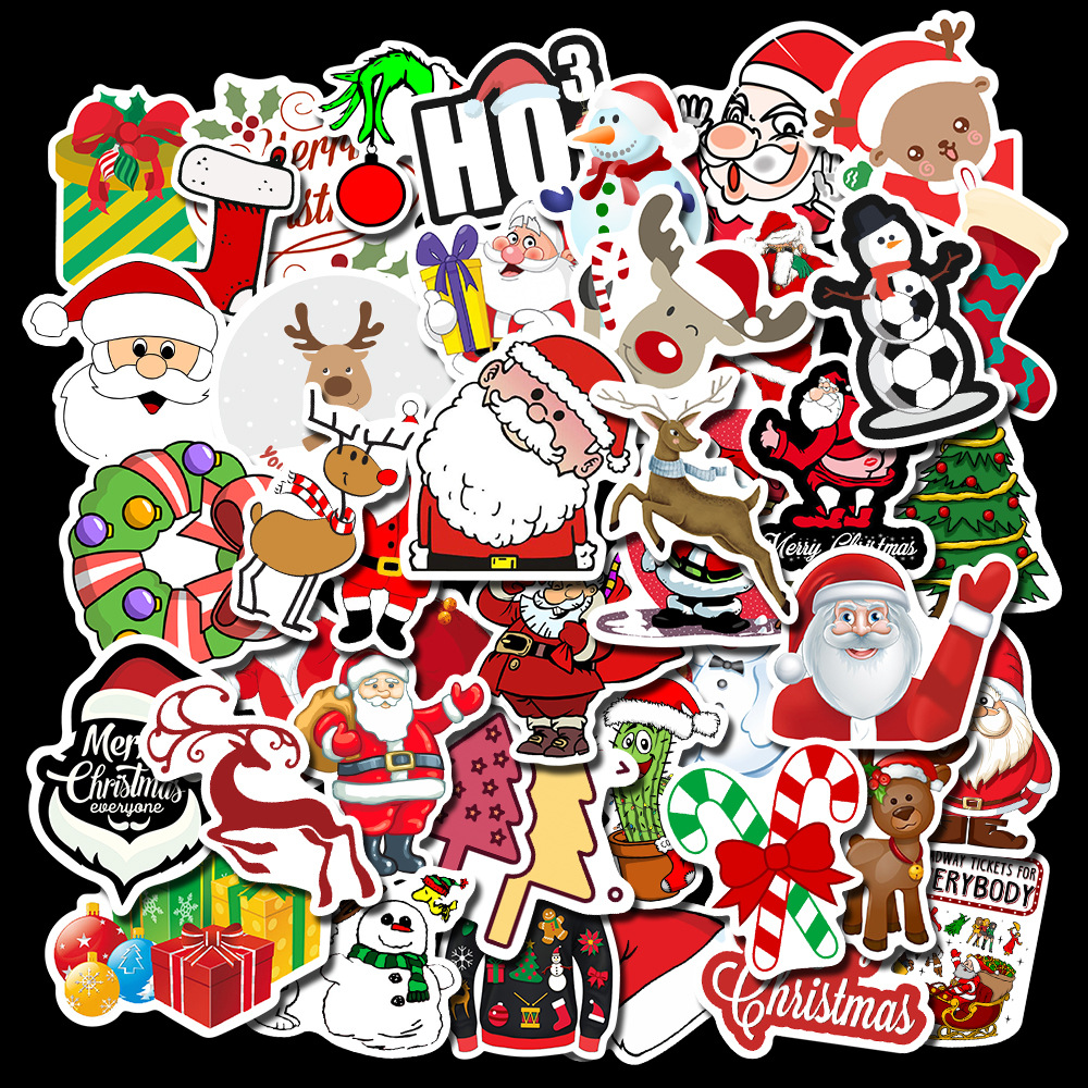 50 Pcs Stickers 'christmas Scrapbooking Stickers Christmas Number 3-6 Cm Advanced Material Waterproof  Stationery Sticker TZ136G