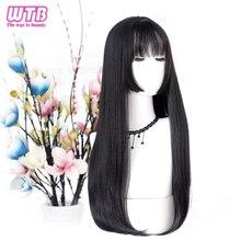 WTB-Peluca de cabello sintético para mujer, cabellera larga y lisa con flequillo, color negro, fiesta de Cosplay, regalo de Navidad