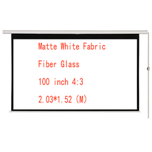 Thinyou 100 inch 4:3 Electric Motorized ScreenMatte White Fabric Fiber Glass Curtain With Remote Control Up Down for Home Office