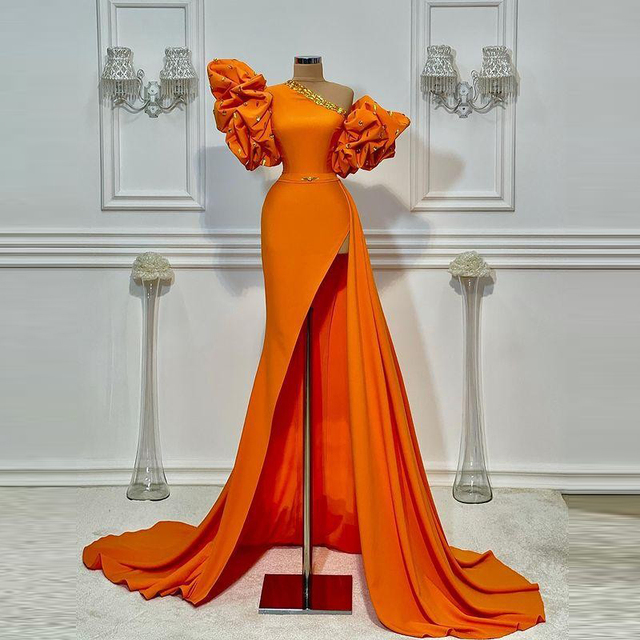Orange One Shoulder Prom Dresses 2021 Summer Puff Short Sleeves Sexy Side Slit Evening Dress Cheap Satin Cocktail Party Gowns 4