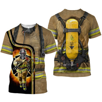 Tessffel Firefighters Suit Firemen Causal Streetwear Harajuku Unisex 3DfullPrint Short Sleeve Streetwear T-shirts Men Women s-4 2