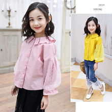 2019 Spring Autumn Toddler Teen Girls Lace Blouse Top Yellow Red Pink Child Print Clothes Puff Sleeve School Girl Shirt Kids