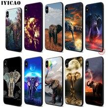 IYICAO Elephant Cute Animal Soft Black Silicone Case for iPhone 11 Pro Xr Xs Max X or 10 8 7 6 6S Plus 5 5S SE стоимость
