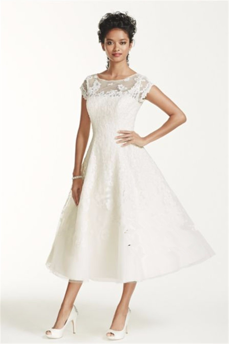 Ankle Length Cap Sleeve Illusion Wedding Dress CMK513 Applique Lace With Crystals Short Sleeves Bridal Dress