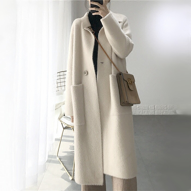 Korean Style Women Mink Cashmere Sweater Cardigan Lazy Wind Knittetd Coat Pockets Deisgn Turn-down Collar Fuzzy Cardigan Long