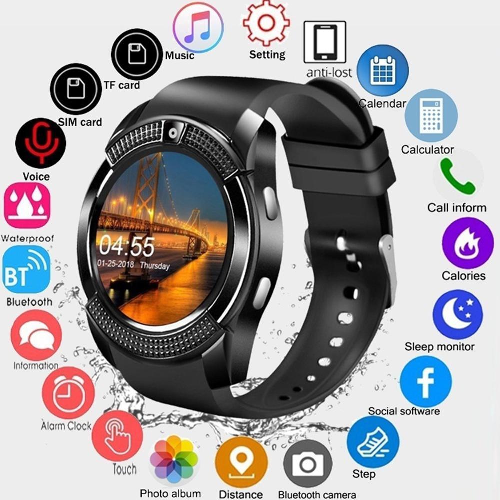 V8 smartwatch bluetooth relógio inteligente tela de toque relógio de pulso com câmera slot para cartão sim à prova dwaterproof água esportes relógio para android