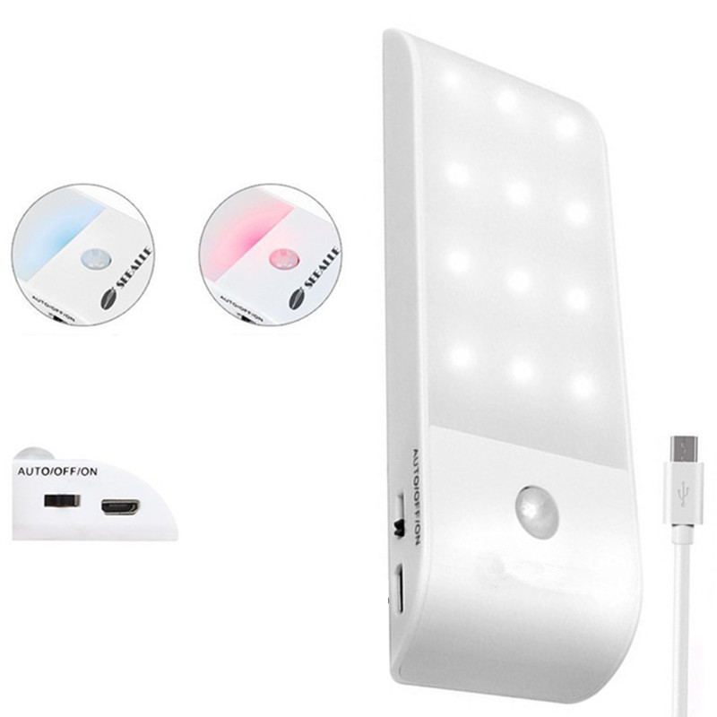 LED Sensor Night Light USB Stick-on Rechargeable PIR Motion Sensor Lamp For Closet Wardrobe Bedroom Corridor