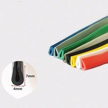 Rubber U Sealing Strip 7x4mm 0.3-1.5mm Glass Metal Wood Panel Board Edge Encloser Shield White Red Gray Black Blue Yellow Green