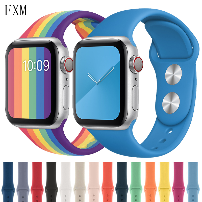 Strap For Apple Watch Band Sport Silicone 38mm 42mm IWatch 4 Band 44mm 40mm Belt Bracelet Correa Apple Watch 5 4 3 2 Accessories