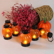 6Pcs/Set Pumpkin Lantern Yellow Flickering Light Candle LED Candles Party Decoraction Halloween Decoration