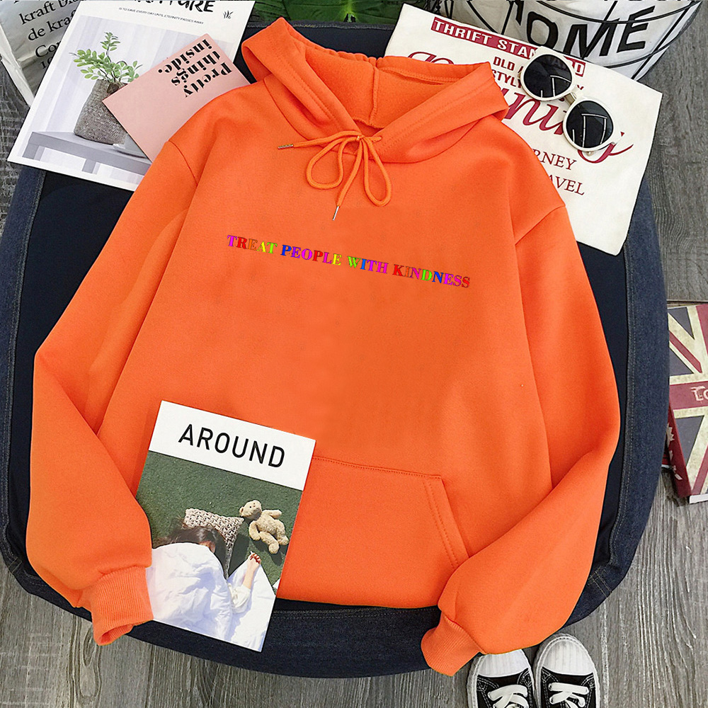 Treat People with Kindness Sweatshirt Streetwear Fashion Tops Letter Pullovers Women 2020 Harry Styles Hoodies Aesthetic 11